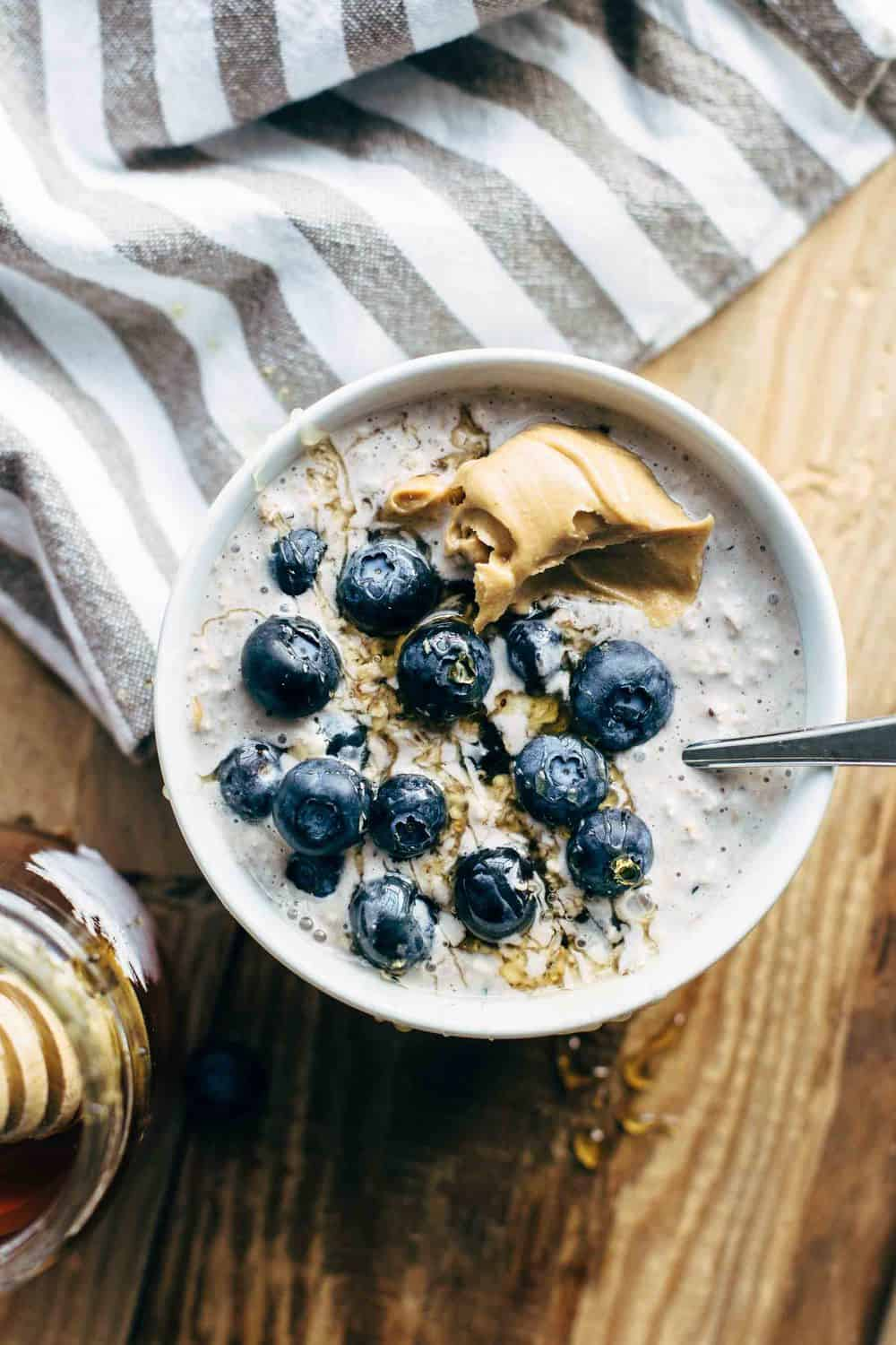 Start your 24-hour interval amongst these Blueberry Cream Cheese Overnight Oats Blueberry Cream Cheese Overnight Oats